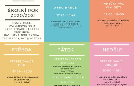 Rozvrh tanečních lekcí DC7
